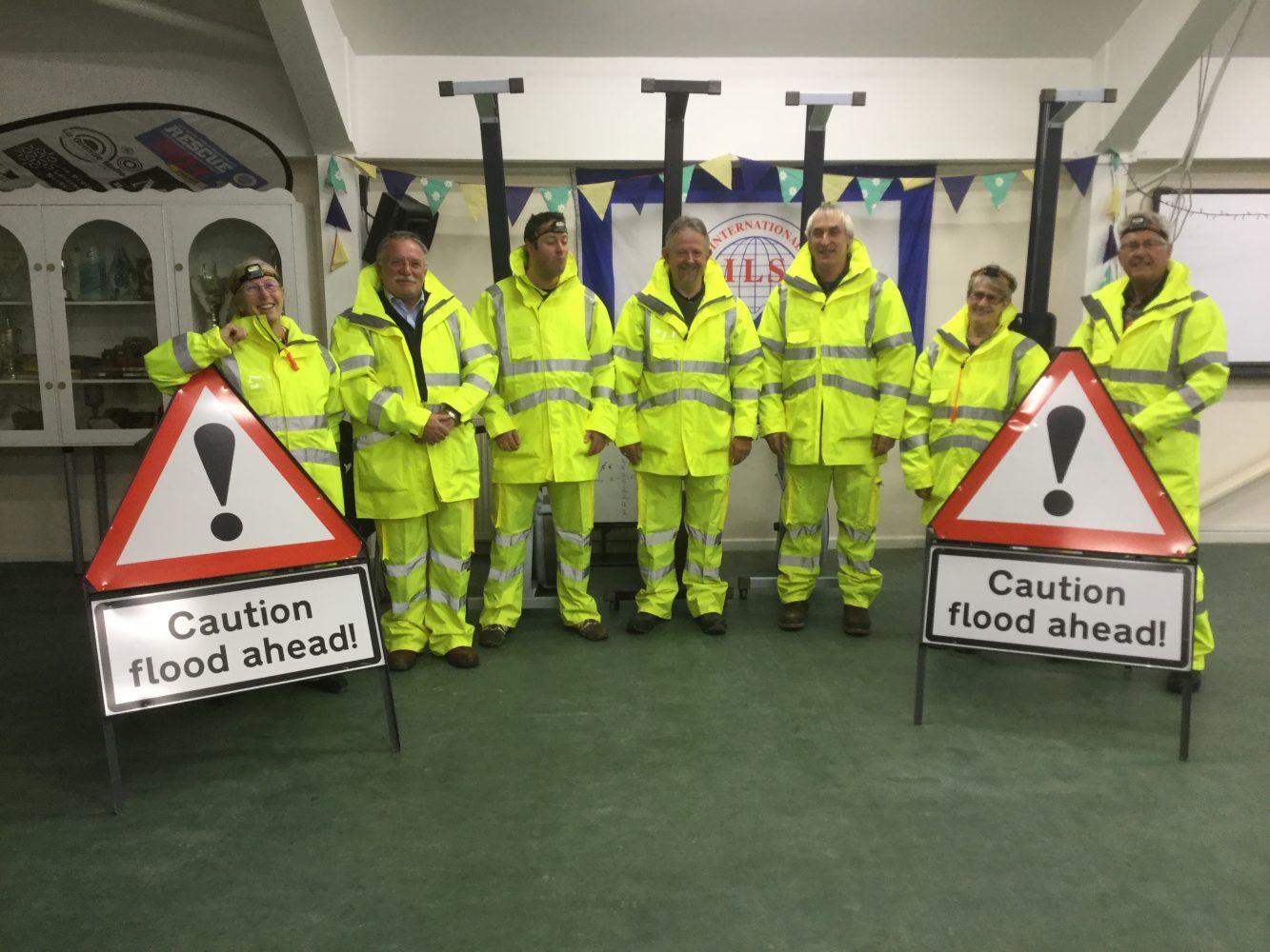 Portreath Flood Group volunteers in PPE